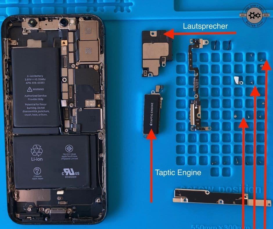 Lautsprecher Taptic Engine ausgebaut